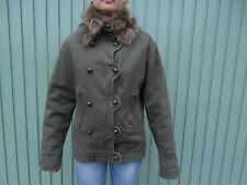 Veste Kaki Fashion MORGAN DE TOI 100% coton Taille 42 col fourrure amovible