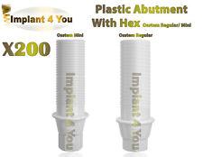 200X Dental Osstem Plastic Abutment With Hex + Screw Regular / Mini Platform