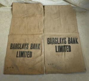 Vintage 1940s Pair Barclays Bank Limited Cloth Money Cash Bag Night Safe storage