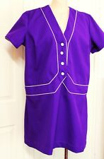 1960s Dress Purple Retro Size 18 20 L XL XXL 46-48-46 Vintage Ladies Mod