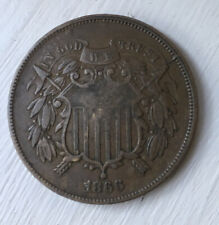 1866 two 2 cent XF Extremely Fine piece civil war date FREE SHIPPING!