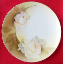 """RS Germany Butter Cream Roses Coupe Plate Reinhold Schlegelmilch 8"""" Blue Mark"""