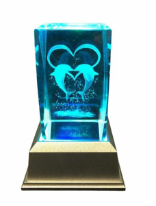 Two Dolphins with hearts- 3D Laser Etched Crystal Block With 4 LED Light base