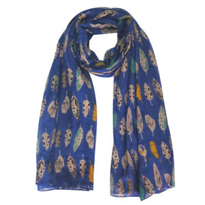 MULTI COLOURED FEATHERS PRINT WOMENS SCARF SHAWL WRAP LIGHTWEIGHT