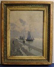 Painting Picture DIPINTO Olio su tela FRITZ BRANDT 1860 SPIAGGIA