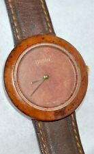 Vintage 1980's Tissot Dark Wood Watch Wood Dial & Brown Leather Band W150