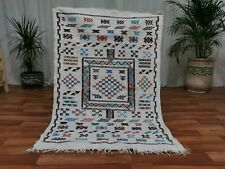 Moroccan minute Handmade wool carpet 3'x5' Berber Nomad Sahara pagan wool Rug N5