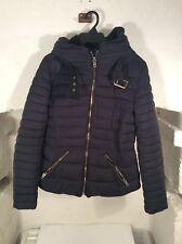 ZARA BASIC - Women's Puffer Jacket - Size 10 (M) - Black - Faux Fur Collar