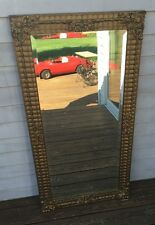 """Antique 46"""" x 23"""" Hand Carved Gold Gilt Beveled Glass Mirror"""