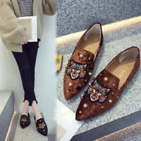 Summer Women's Flats Ladies Tiger Embroidery Scrub Shoes Slip-On Casual Shoes