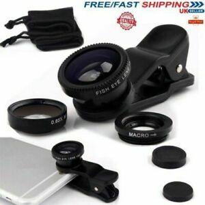 3 in 1 Universal Fisheye Wide Angle Macro Clip Lens Kit For Samsung iPhone iPad