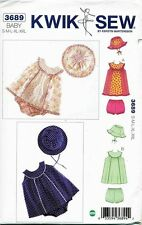 KWIK SEW SEWING PATTERN 3689 BABY S-XXL DRESS W/ BACK CLOSURE, NAPPY COVER & HAT