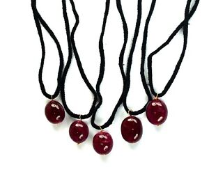 "5 Pcs Natural Ruby Gemstone Certified Handmade Pendant 13"" Long Super Sale"