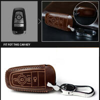 Vintage Leather Car Smart Key Fob Cover Case For Ford Fusion F150 Mustang Edge