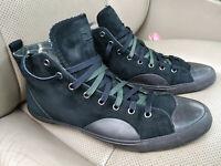 Hugo Boss Orange Sneakers High Top Shoes Nubuck Leather Dark Khaki Camo Green