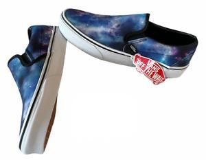 Vans Classic Slip On (Galaxy) Blue White Canvas Shoes Size 9 Women's NIB ⭐️