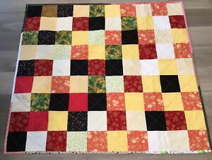 Patchwork Crib Quilt, Four Patch, Calico Prints, Yellow, Green, Red, Black