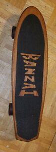 Vintage 1970's Banzai Wood Skateboard,  original banzai speed seal wheels