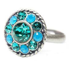 NEU 16mm RING mit SWAROVSKI STEINE caribbean blue opal/blue zircon/blau/grün