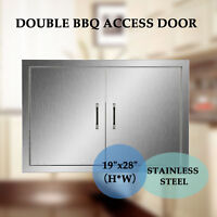"BBQ19"" x 28"" Stainless Steel Access Double Door for Outdoor Kitchen."