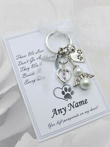 Personalised Pet Loss Keyring Gift Memory Keepsake Cat Dog Angel Rainbow Bridge
