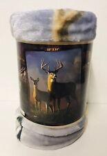 American Heritage Plush Raschel Plush Throw Blanket Deer Hunting Gift New