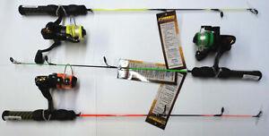 "HT Neon 24"" Ice Fishing Rod/Reel Assortment, THREE Light Action Combos #HTN-12A"