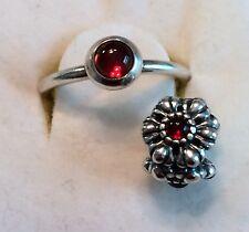 Authentic PANDORA January Garnet Ring Size 7 & Garnet Birthday Blooms w/Box