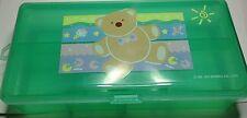 Rare 1992 Sanrio JUST FOR FUN BEAR 2 layer Green Clear Plastic Pencil case