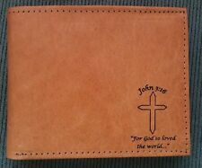 Mens Christian JN 316 Cross Tan Brown REAL LEATHER Bifold Wallet OUTSIDE ID SLOT