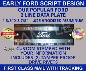 """FORD DATA VIN PLATE VEHICLE ID SERIAL NUMBER TAG """"STAMPED"""" WITH YOUR INFORMATION"""