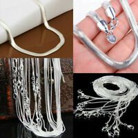 Wholesale 925 Silver Plated Chain Women Men Necklace 16''-30'' Newly Lot Jewelry
