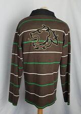 Sean John Mens Brown Shirt Puff Daddy P Diddy Size L Long Sleeve LION Striped