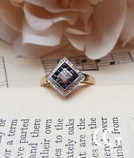 Vintage Antique Art Deco Inspired 9ct Yellow Gold, Diamond & Sapphire Ring