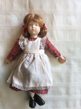 Vintage Small Bisque Doll with Red Plaid Dress and White Apron