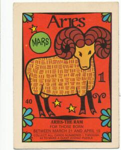 Vintage 1969 Zodiac Donruss Trading Card | Aries #40 | Ultra Rare! VG++