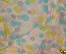Silk CHIFFON Fabric LIME PINK AQUA POLKA DOTS 1/3 yard remnant