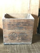 ADVERTISING WOOD CRATE GE GENERAL ELECTRIC FAN SHIPPING CRATE RARE