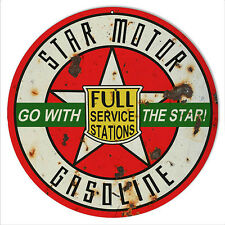 Reproduction Green Go With Star Gasoline Motor Oil Sign 14 Round