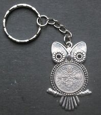 1960 60th birthday lucky Sixpence Owl keyring present wedding a gift box + bag