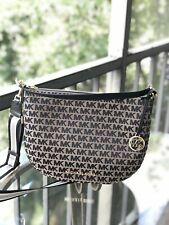 Michael Kors Medium Convertible Jacquard Leather Shoulder Crossbody Tote Black