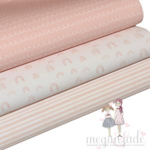 Pastel Pattern Printed Bow Fabric Canvas Hair Bows - Pink Bundle 4