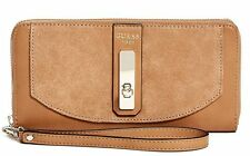 NEW Guess Kingsley Large Zip Around Wallet Clutch Bag, Cognac