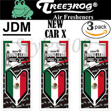 Treefrog Wakaba Young Leaf JDM Air Freshener Mexico Flag- New Car X Scent 3 PACK