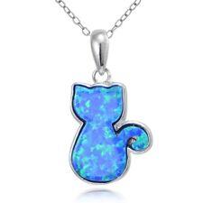 Sterlingsilber Künstlicher Blauer Opal Katze Halskette