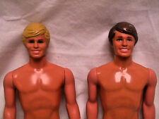 Lot 2 Vtg 80s Barbie KEN Dolls Painted Hair Blonde & Brunette NUDE Blue Eyes