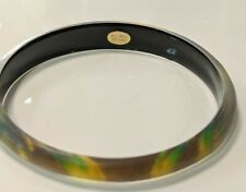 "ALEXIS BITTAR Slim ""Peacock"" Pattern LUCITE BANGLE BRACELET"