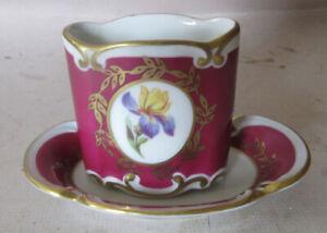 Vintage JLMenau Porcelain Dresser Set Iris design Magenta