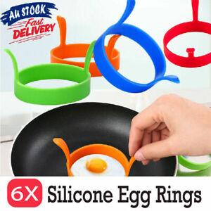6X Silicone Egg Rings Non Stick Kitchen Baking Tools Pancake Handles Au Stock