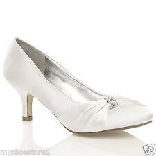 Para Mujer Zapatos De Novia señoras Boda Dama Stiletto bajo Gatito Mid satén talón